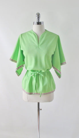 Vintage 70s Green Rainbow Trim Angel Sleeve Belted Top M