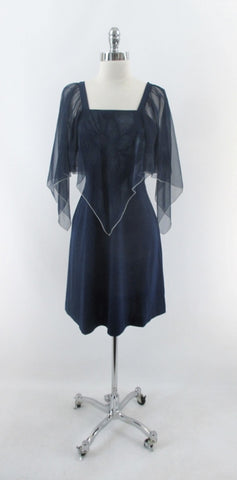 Vintage 70s Navy Blue Sheer Angel Sleeve Party Dress L