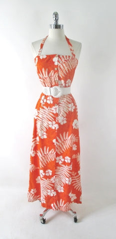 Vintage 70s Orange Hawaiian Maxi Dress XS