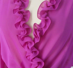Vintage 70s Ursula of Switzerland Purple Ruffled Dress New / Old Stock M
