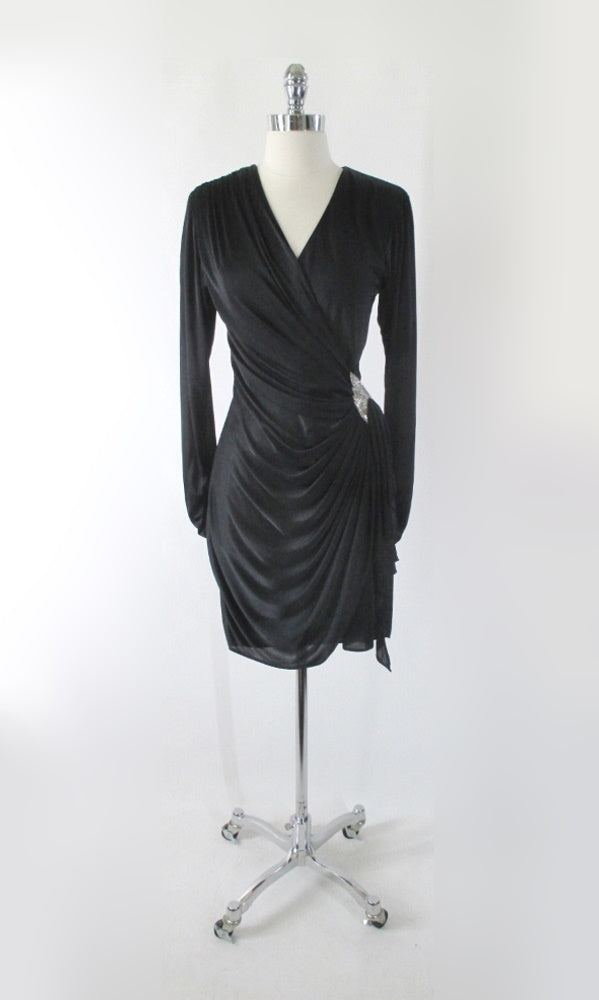 Vintage 80s Black Side Drape Beaded Party Dress S