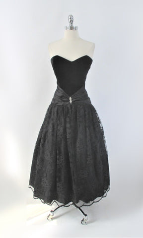 Vintage 80s Scott Mc Clintock Strapless Black Party Dress S