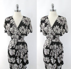 Vintage 80s Black White Roses Draped Hip Sheath Dress M