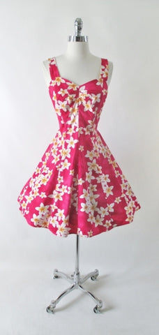 Vintage 80s 50s Style Royal Hawaiian Pink Plumeria Fit & Flare Dress S