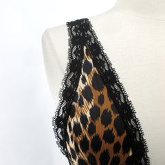 Vintage 80's High French Cut Black Lace Leopard Teddy S NOS