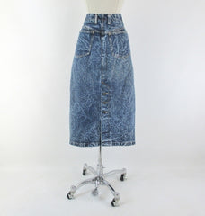 Vintage 90's Acid / leather washed tea length denim blue jean skirt M - Bombshell Bettys Vintage back