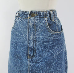Vintage 90's Acid / leather washed tea length denim blue jean skirt M - Bombshell Bettys Vintage left