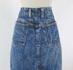 Vintage 90's Acid / leather washed tea length denim blue jean skirt M - Bombshell Bettys Vintage pockets