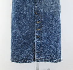 Vintage 90's Acid / leather washed tea length denim blue jean skirt M - Bombshell Bettys Vintage buttons