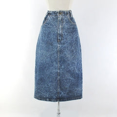Vintage 90's Acid / leather washed tea length denim blue jean skirt M - Bombshell Bettys Vintage front