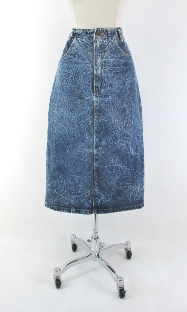 Vintage 90's Acid / leather washed tea length denim blue jean skirt M - Bombshell Bettys Vintage gallery