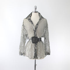 Vintage 80's Silver & Black Lace Oversize Button Down Blouse
