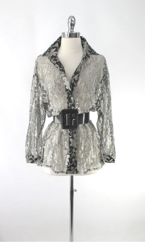 Vintage 90's Silver & Black Lace Oversize Button Down Blouse