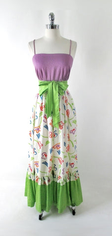 Vintage 80's Tori Richard Bright Hawaiian Floral Maxi Sundress Dress S