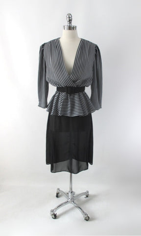 Vintage 80s Grey Black Stripe Peplum Dress & Matching Belt M
