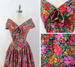 vintage 80s Laura Ashley style floral off shoulders full skirt tea dress bombshell bettys vintage bodice full
