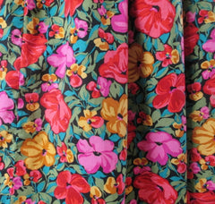 vintage 80s Laura Ashley style floral off shoulders full skirt tea dress bombshell bettys vintage fabric