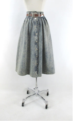 Vintage 80s Acid Wash Western Denim Prairie Skirt & Matching Belt L