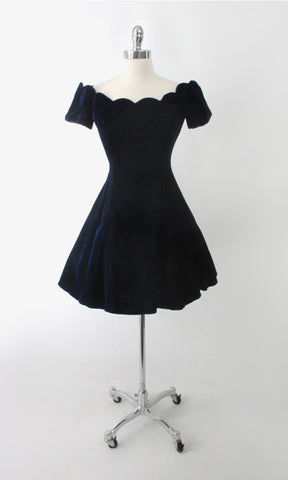 Vintage 90s Blue Velvet Off Shoulder Mini Party Dress S