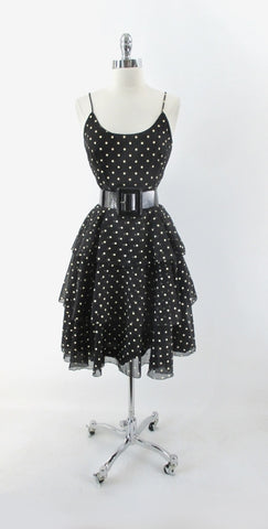 Vintage 80s Black White Polka Dot Tiered Party Dress S