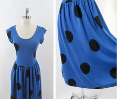 vintage 80s 50 inspired blue big black polka dot  swing skirt jersey day dress bombshell bettys vintage bodice