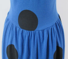 vintage 80s 50 inspired blue big black polka dot  swing skirt jersey day dress bombshell bettys vintage pleats