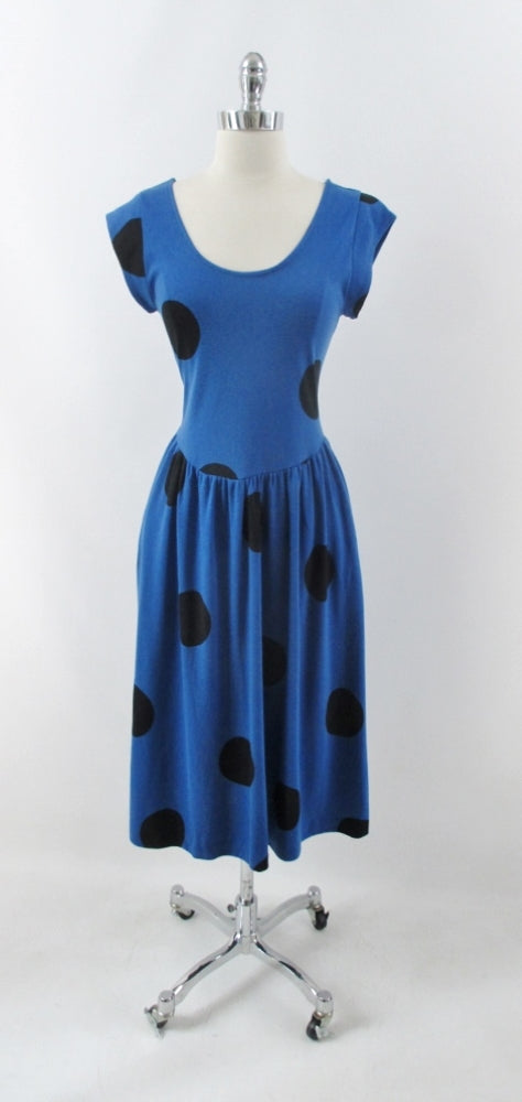 vintage 80s 50 inspired blue big black polka dot  swing skirt jersey day dress bombshell bettys vintage  gallery