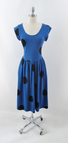 Vintage 80s Blue Black Polka Dot Jersey Day Dress S