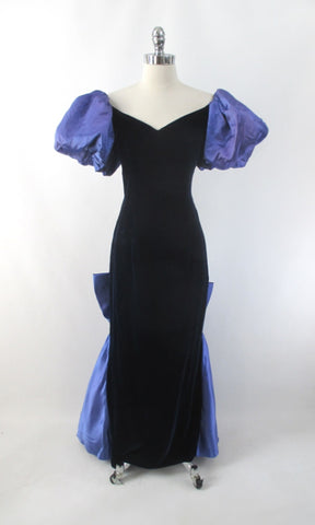 Vintage 80s Blue Velvet Satin Train Evening Gown M