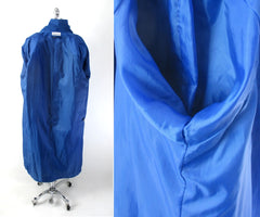 vintage 80s blue ultra suede trench coat jacket medium lining