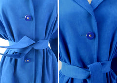 vintage 80s blue ultra suede trench coat jacket medium waist
