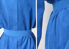 vintage 80s blue ultra suede trench coat jacket medium details