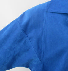 vintage 80s blue ultra suede trench coat jacket medium shoulder