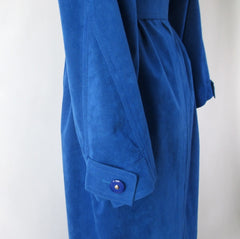 vintage 80s blue ultra suede trench coat jacket medium sleeve