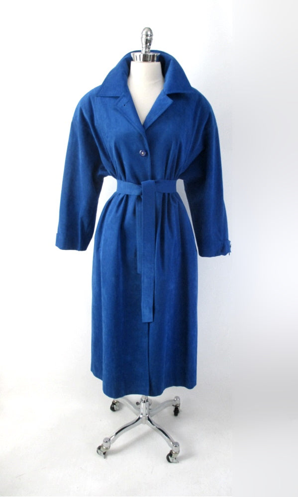 vintage 80s blue ultra suede trench coat jacket medium gallery