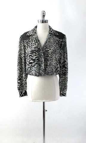 Vintage 80s Black & White Leather Leopard Blouse M