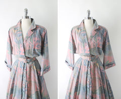 Vintage 80s Pastel Colorsplash Shirtwaist Day Dress XXL Plus - Bombshell Bettys Vintage