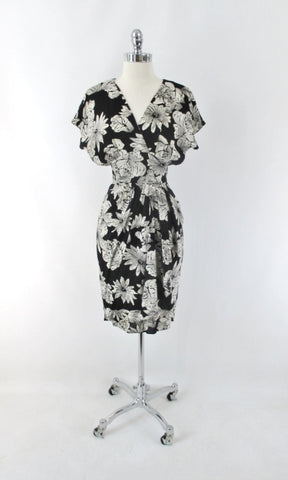 Vintage 80s Black White Roses Draped Hip Sheath Dress S