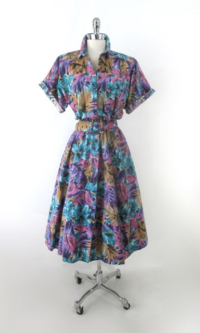 Vintage 80s Tropical Floral Full Skirt Day Dress M