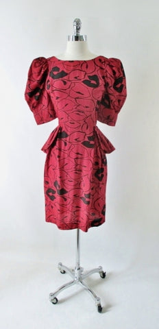 Vintage 80s 40s Style Glam Red Puff Sleeve Peplum Dress S