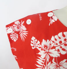 Vintage 80s Red White Hawaiian Shorts Playsuit Romper M - Bombshell Bettys Vintage
