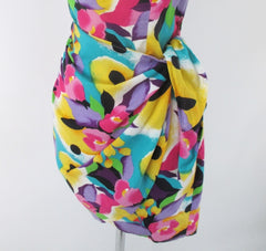 vintage 90s glam bright floral flower sheath sarong dress  LA Chic USA bombshell bettys vintage sarong