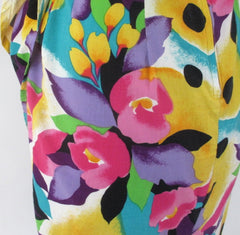 vintage 90s glam bright floral flower sheath sarong dress  LA Chic USA bombshell bettys vintage print