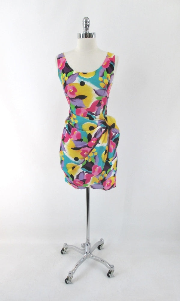 vintage 90s glam bright floral flower sheath sarong dress  LA Chic USA bombshell bettys vintage gallery