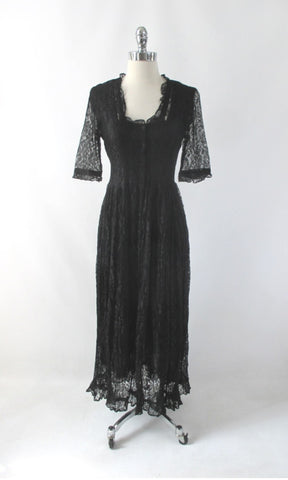 Vintage 90s Black Lace Grunge Tea Dress M