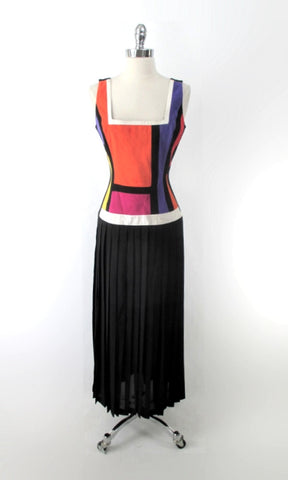 Vintage 90s Cache Colorblock Ultrasuede Dress L