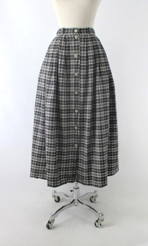 Vintage 90s Liz & Co Black White Plaid Tea Skirt S