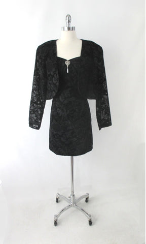 Vintage 90s Black Flocked Velvet Party Dress Matching Bolero Jacket Plus 2XL