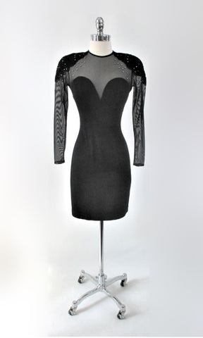 Vintage 90s Black Tadashi Shoji Sweetheart Bodycon Party Dress S