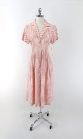 Vintage 90s Peach Gingham Tea Length Ashley Dress M